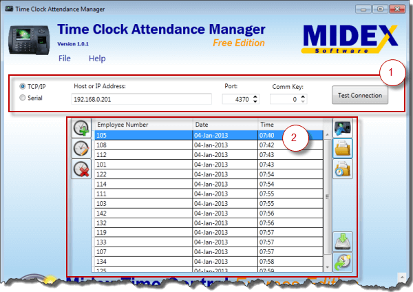 Time Clock Att Manager Main Screen